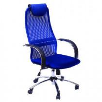 МЕТТА Кресло BK-8 PL № 23 сетка синяя сетка хром.подлокотники со вставкой экокожи.