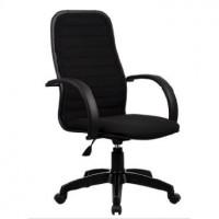 МЕТТА Кресло CP-5 PL № 19 черная ткань металлические подлокотники со вставкой экокожи.