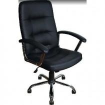 OFFICE-LAB кресло КР16 хром, эко кожа черная / ЭКО1