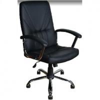 OFFICE-LAB кресло КР37 хром, эко кожа черная / ЭКО1