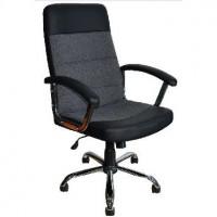 OFFICE-LAB кресло КР58 хром, эко кожа черная / ткань серая ЭКО1/С1