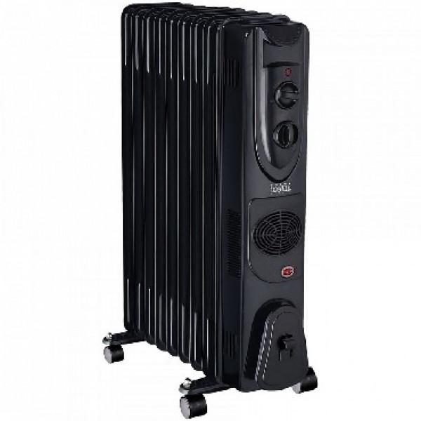Масляный радиатор DELTA D49F-9 черный: 9 секций, 2000 Вт, вент.