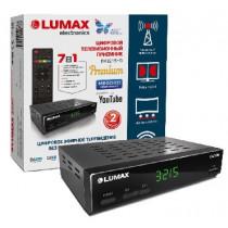 LUMAX DV3215HD DVB-T2/C/WiFi/КИНОЗАЛ LUMAX (500 фильмов)/MEGOGO//IPTV/Dolby Digital/дисплей, металл