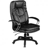 МЕТТА Кресло LK-11 PL № 721 , натуральная перфорированная черная кожа №721, хромированные под-ки